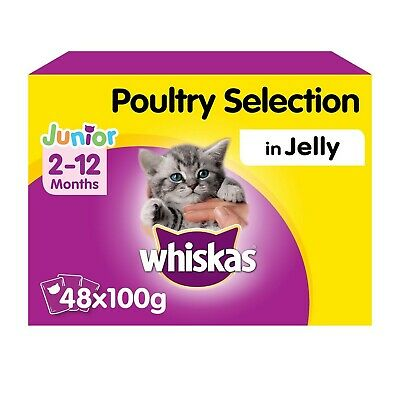 Whiskas 2-12 Months Kitten Wet Cat Food Pouches Poultry Jelly 48x100g Pouches