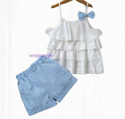 Girls set 2 pcs Top Shorts Skirt sets Outfit Kids Summer Set Age 2 3 4 5 6 7 yrs