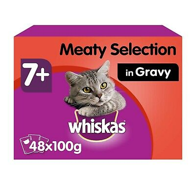 Whiskas 7+ Senior Wet Cat Food Pouches Meaty Selection In Gravy 48x100g Pouches