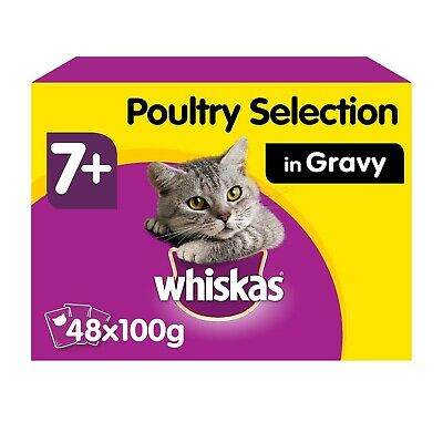 48 x 100g Whiskas 7+ Senior Wet Cat Food Pouches Mixed Poultry in Gravy