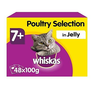 48 x 100g Whiskas 7+ Senior Wet Cat Food Pouches Mixed Poultry in Jelly