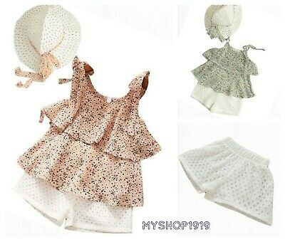 Girls set 3 pcs Top Shorts Hat sets Outfit Kids Summer Set Age 2 3 4 5 6 yrs