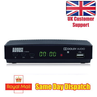Freeview HD Set Top Box - August DVB400 1080p Digital Tuner with Mediaplayer