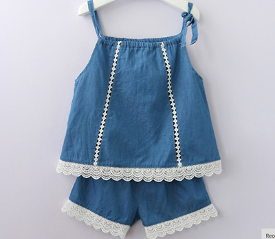 Girls set 2 pcs Top Shorts sets Sleeveless Outfit Summer Set Age 2 3 4 5 6 yrs
