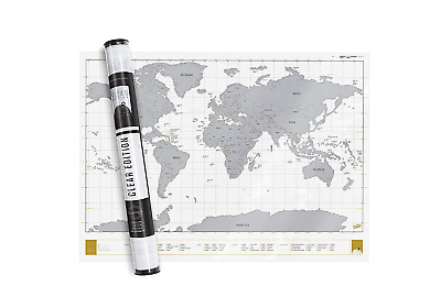 Transparent World Scratch Map – Off –Modern Design Clear Poster – Amazing...
