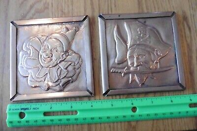 Copper reliefs Art wall hanging Circus Clown and Pirate handmade vintage Coaster