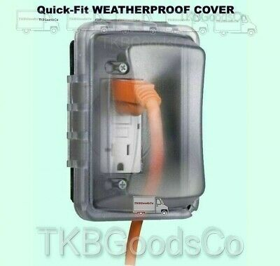 Quick Fit Weatherproof Cover Outdoor Electrical Box Single Outlet Protector
