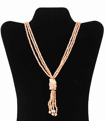 Chinese Gold Plated 4/20 Of 14k Gold & Coral Tri Strand Beads Necklace 42.92g