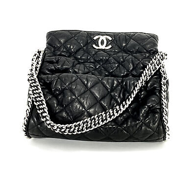9a613ca87112 CHANEL BLACK HOBO Quilted Ultimate Soft Chain Around Tote Bag ...