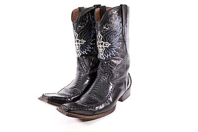 8956b35bec5 EL GENERAL COWBOY Boots 1901 Mens Size 9.5 Black Leather Embroidered Cross  Wings
