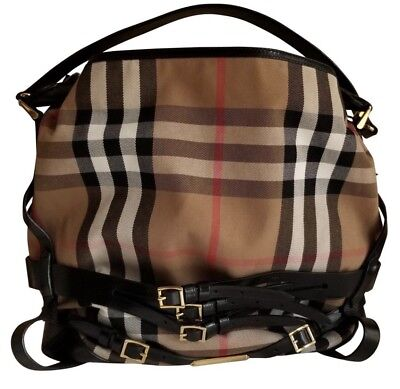 EUC BURBERRY Bridle Gosford Tote Black and Tan Leather Canvas Hobo Bag abe141d280a2b