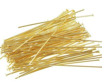 100 70mm LONG HEAD PINS 0.7mm GOLD Plated