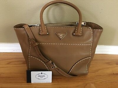 91039b34d1ef AUTH PRADA CARAMEL City Calf Twin Pocket Tote Shoulder Bag Medium ...