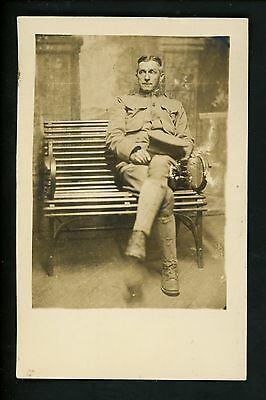 Military real photo postcard RPPC WWI Army soldier photograph Vintage