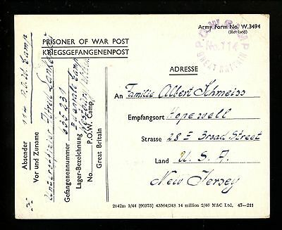 Postal History Great Britain POW Camp #114 Card German Soldier1947 Hopewell NJ