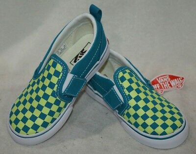 617bfac19a5521 Vans Toddlers Boy Girl s Checkered Enamel Blue Slip On Shoes-Size 9 9.5