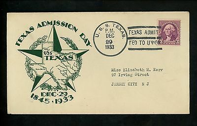 US Naval Ship Cover USS Texas BB-35 Pre WWII 12/29/1933 Battleship Admission Day