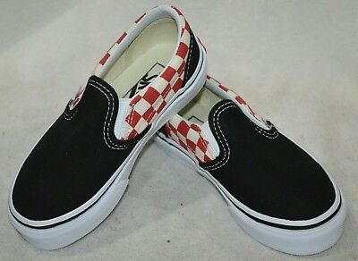 4264a3cabbd594 Vans Toddler Boys Classic Checkerboard Black Red Slip On Skate Shoes-Sz 10.5  NWB
