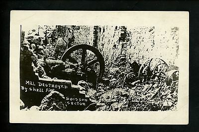 Military real photo postcard RPPC WWI 1919 Mill Destroyed by Shell Fire Soisson