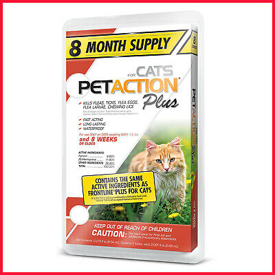 PetAction Plus for Cats and Kittens 8 doses -Ticks, Lice, Mites, Fleas, Larvae