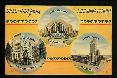 Postcard Vintage Greetings From Cincinnati Ohio OH Linen Fountain Railroad