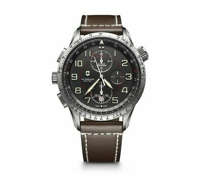 New Victorinox AirBoss Mach 9 Black Chrono Dial Leather Band Men's Watch 241710
