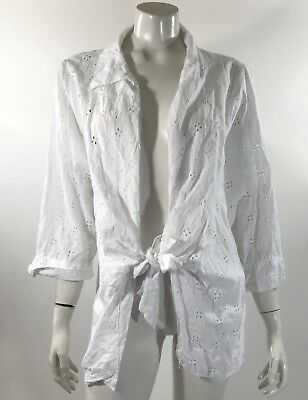 1ee7bf01b44 CJ Banks Womens Top Plus Size 2X White Eyelet Blouse Tie Front Cotton  Collared