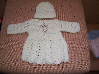 New Hand Crochet Baby Jacket & Cap Baby Pale Green  Newborn
