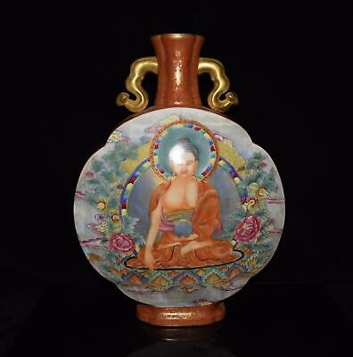 Chinese Exquisite Handmade colorful gold Thang-ga figure porcelain vase