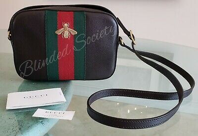 a004042431c  1190 Gucci Gold Bee Web Red Green Webby Shoulder Bag Crossbody Brown  Leather