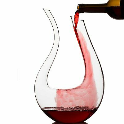 1.5L Fashion Crystal Glass U-shaped Horn Wine Decanter Pourer Wine Container E