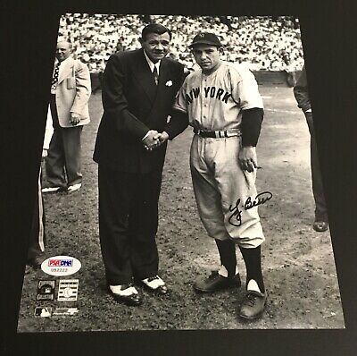 Yankees Yogi Berra Signed Authentic Autograph 8X10 Photo with Babe Ruth PSA/DNA