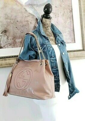 be5843af31dc $1480 Gucci Soho Medium Chain Tote Blush Nude Patent Leather Shoulder Bag
