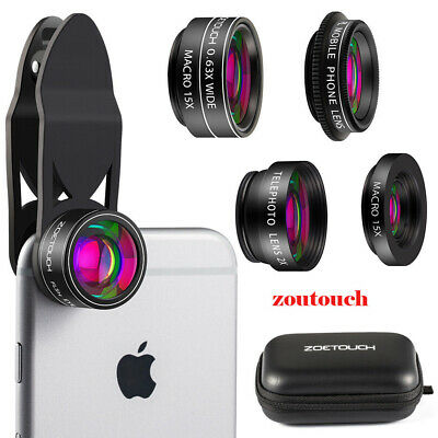5 in 1 Wide Angle/Macro/Fisheye Zoom Lens Clip-on for Android iPhone Smart Phone