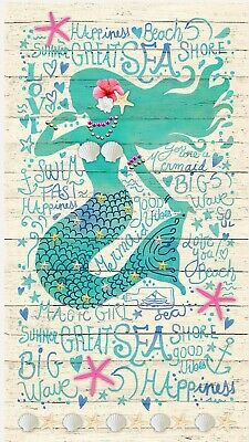 Mermaid Happiness Quilt Panel * New * Free Post *  Gorgeous *