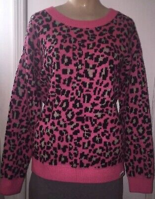 eed50b530bf9 Victorias Secret Pink Women's size Small Hot Pink Cheetah Print Sweater