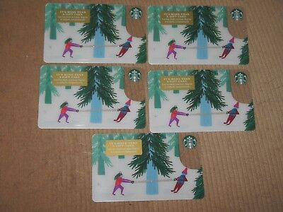 5 Starbucks 2018 Christmas Cutting Down The Christmas Tree Gift Cards - New Lot