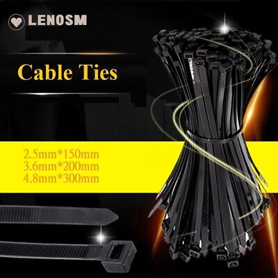 Black Cable Ties Zip Ties Nylon UV Stabilised  100-1000PCS Bulk Black Cable Tie