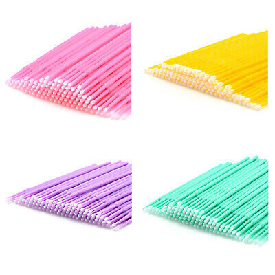 100 Pcs Disposable Swab Applicator Micro Brush Eyelashes Extension Mascara  J2A7