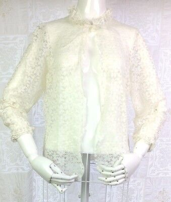 VTG 50s 60s  Romantic Lace Cover Jacket Ivory Pale Blue Ribbon Victorian Art S M