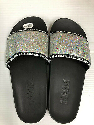 7327491d3f8c Victoria s Secret PINK Bling Silver Glitter Single Strap Slides Small ...