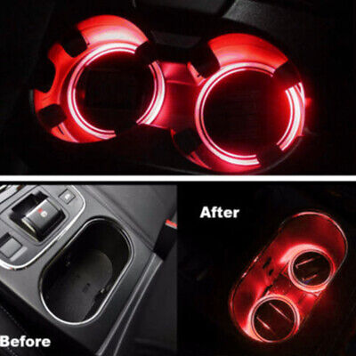 1pc LED Universal Car Cup Holder Pad Mat Auto Interior Atmosphere Light Red colo