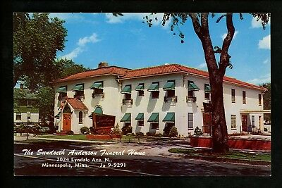 Minnesota MN postcard Minneapolis, Sundseth Anderson Funeral Home chrome