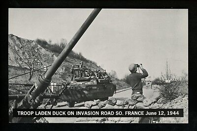 Military postcard WWII Artillery tank Invasion Road photo view France June 1944