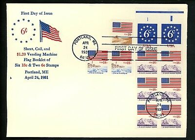 US FDC #1890+1891+1892-1893 Unknown 1981 ME Flag Lighthouse Grain Mountain Combo