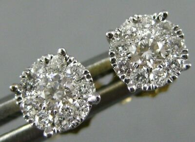Estate .25Ct Diamond 14Kt 2 Tone Gold Round Solitaire Halo Cluster Stud Earrings