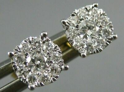 Estate .33Ct Diamond 14Kt 2 Tone Gold Round Solitaire Halo Cluster Stud Earrings
