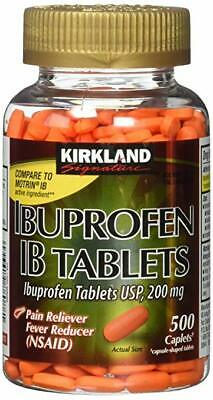 Kirkland Ibuprofen IB Tablets 200mg NSAID Pain/Fever 500 Caplets / Free Shipping