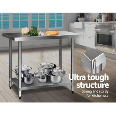 Stainless Steel Table Work Bench Commercial Kitchen Workshop 122cm Food Prep NEW