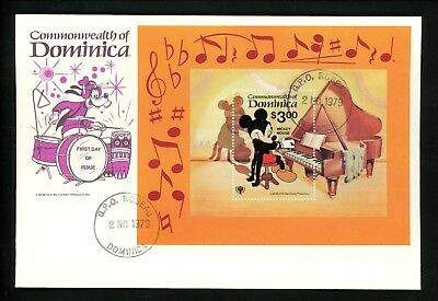 Disney FDC Dominica #653 S/S Mickey Mouse piano music instrument 1979
